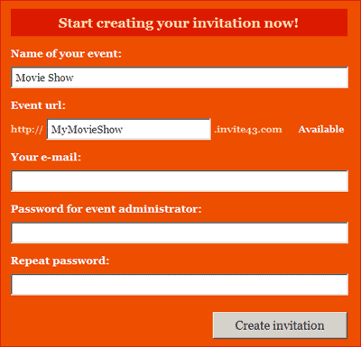 create online invitation for your party or event