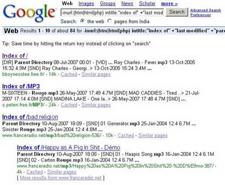 Search MP3 and Videos using Google Search