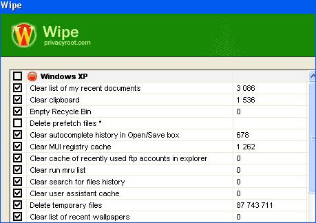Wipe' & clear browsing history, logs & temp files