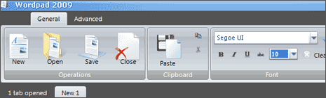 Windows7 like Wordpad with Ribbon UI for XP & Vista